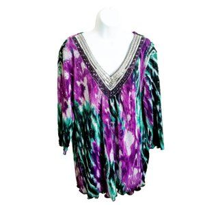 Essentials Dressy Top Embellished Multicolor  1X